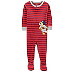 carter's® Size 3T Zip-Front Striped Football Tiger Footie in Red