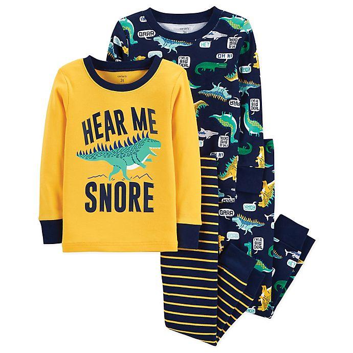 cdbd59c6724f carter s® 4-Piece Dinosaur Snug-Fit Cotton Pajama Set in Yellow Navy ...