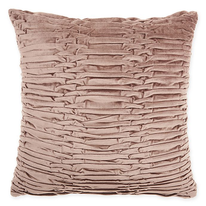 Alternate image 1 for Mina Victory By Nourison Pleated Velvet Square Throw Pillow in Nude