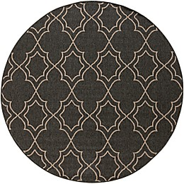 Surya Modern Quatrefoil Indoor/Outdoor Rug in Black