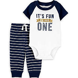 carter's® 2-Piece Fun Being 1 Bodysuit and Pant Set in Blue/White