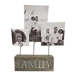 SixTrees LTD 3-Photo Family Photo Clip in Grey