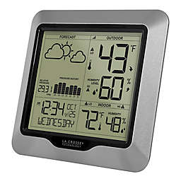 La Crosse Technology 6.88-Inch Weather Station Wall Clock with Atomic Time and Forecast in Silver