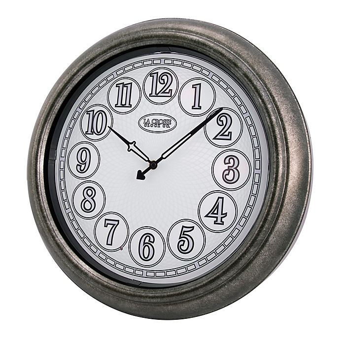Alternate image 1 for La Crosse Technology 18-Inch Round Indoor/Outdoor Lighted Dial Wall Clock