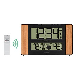 La Crosse Technology Atomic Digital Wall Clock with Temperature and Moon Phase in Wood