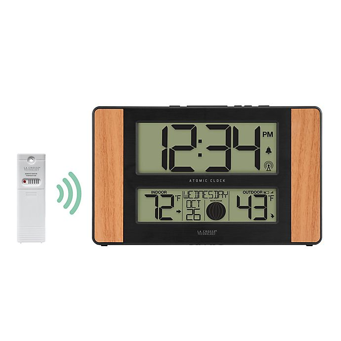 Alternate image 1 for La Crosse Technology Atomic Digital Wall Clock with Temperature and Moon Phase in Wood
