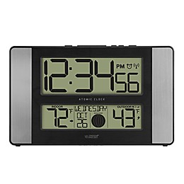 La Crosse Technology 12-Inch Atomic Digital Wall Clock with Temperature and Moon Phase in Silver