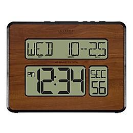 La Crosse Technology 9.75-Inch Atomic Digital Wall Clock in Walnut