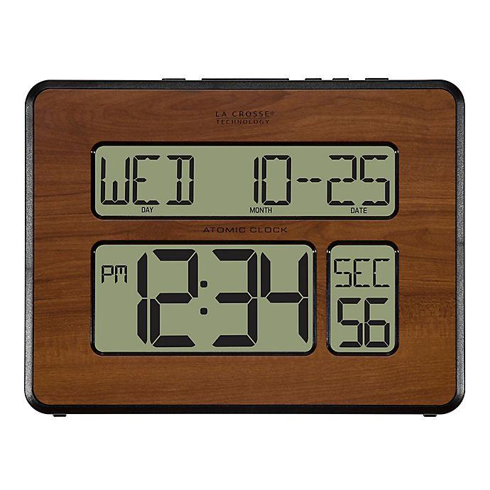 Alternate image 1 for La Crosse Technology Atomic Digital Wall Clock in Walnut