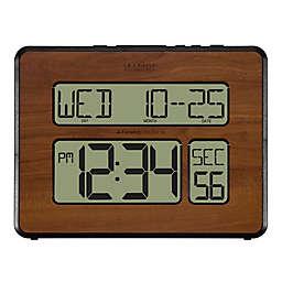 La Crosse Technology Atomic Digital Wall Clock in Walnut