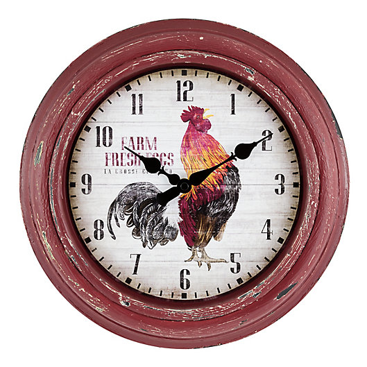 Alternate image 1 for La Crosse Technology 12-Inch Round Rooster Wall Clock in Red