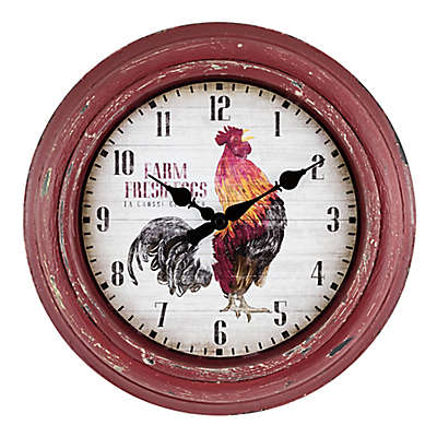 La Crosse Technology 12-Inch Round Rooster Wall Cloc in Red