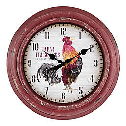 La Crosse Technology 12-Inch Round Rooster Wall Clock in Red