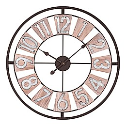 La Crosse Technology 27.5-Inch Round Wood and Metal Wall Clock