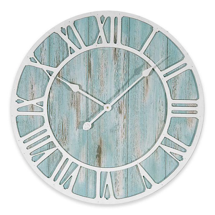 Alternate image 1 for La Crosse Technology 23.5-Inch Round Coastal Clock in Blue