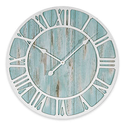 La Crosse Technology 23.5-Inch Round Coastal Clock in Blue