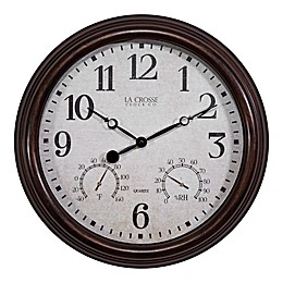 La Crosse Technology 15-Inch Indoor/Outdoor Wall Clock with Temperature and Humidity