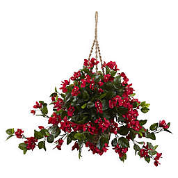 Nearly Natural 28-Inch Bougainvillea Hanging Basket in Red