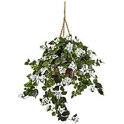 Nearly Natural™ 28-Inch Bougainvillea Hanging Basket in White