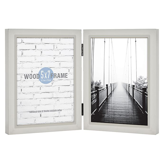 Alternate image 1 for Gallery Hinged 2-Photo 5-Inch x 7-Inch Wood Picture Frame in Light Grey