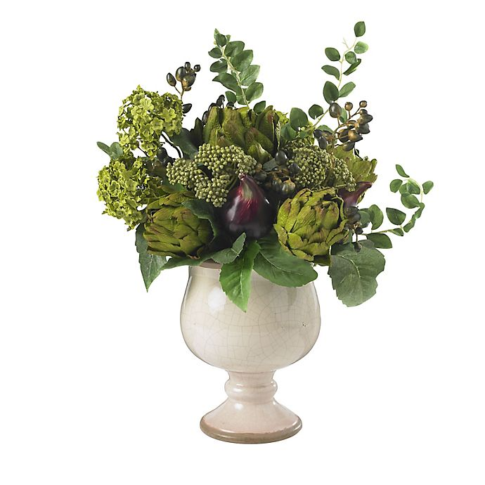 Alternate image 1 for Nearly Natural Artificial Artichoke & Hydrangea Arrangement in Pot