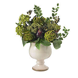 Nearly Natural Artificial Artichoke & Hydrangea Arrangement in Pot