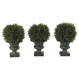 Nearly Natural 9-Inch Artificial Cedar Ball Topiary (Set of 3)