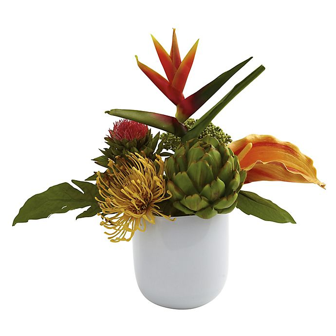 Alternate image 1 for Nearly Natural 14-Inch Artificial Tropical Floral Arrangement with White Glass Vase