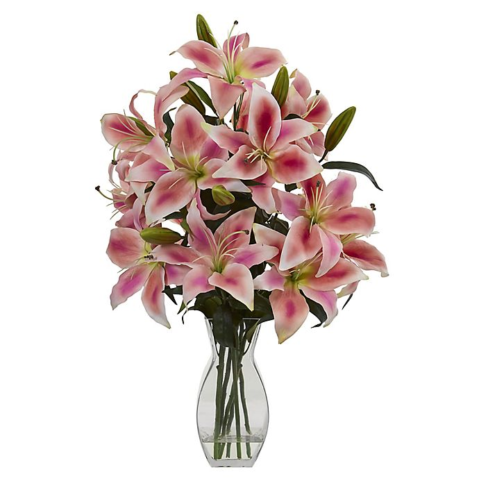 Alternate image 1 for Nearly Natural 18-Inch Rubrum Lily Artificial Arrangement in Vase in Pink