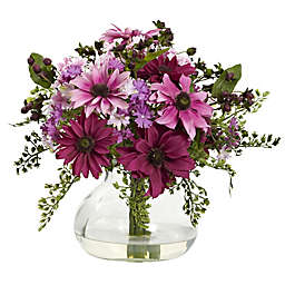 Nearly Natural 11.5-Inch Mixed Daisy Arrangement in Vase