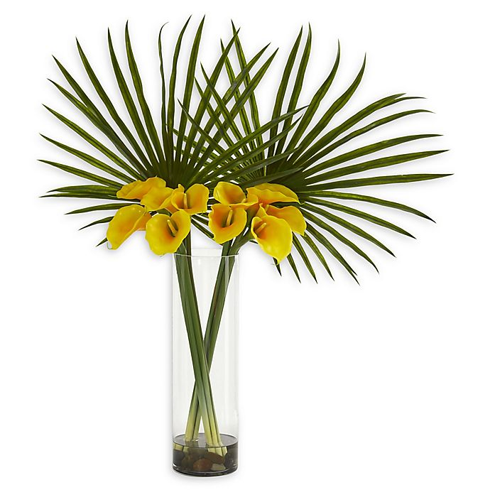 Alternate image 1 for Nearly Natural 41-Inch Fan Palm and Calla Lily Artificial Arrangement in Yellow
