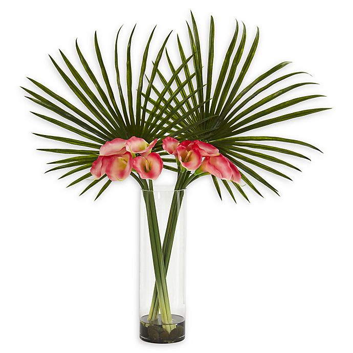 Alternate image 1 for Nearly Natural 41-Inch Fan Palm and Calla Lily Artificial Arrangement in Pink