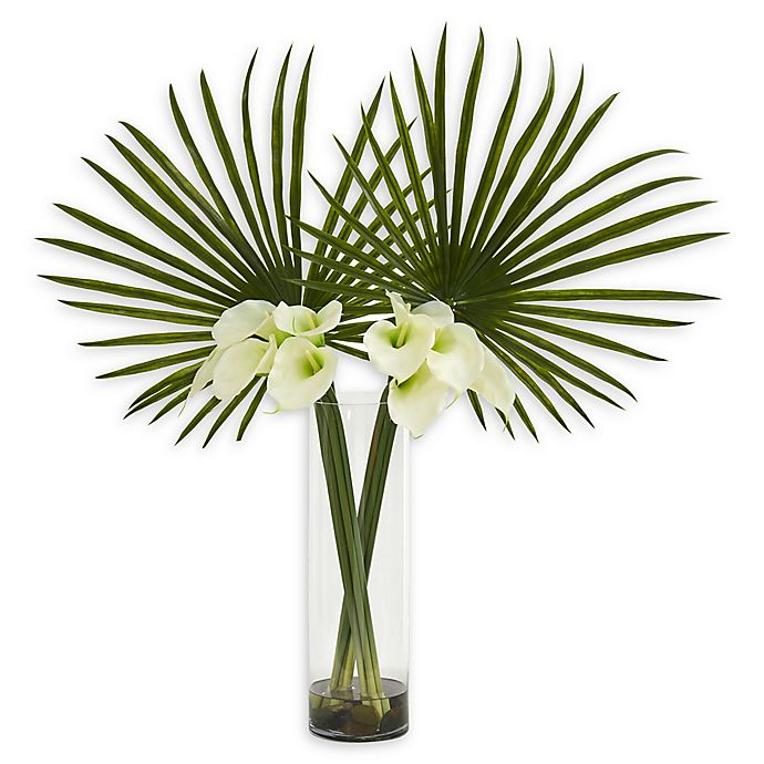 Alternate image 1 for Nearly Natural 41-Inch Fan Palm and Calla Lily Artificial Arrangement in Cream