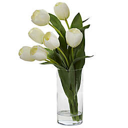 Nearly Natural 16-Inch Tulip Arrangement in Cylindrical Vase