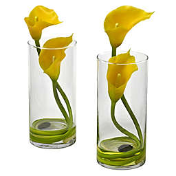 Nearly Natural 10.5-Inch Double Calla Lily in Vase (Set of 2)