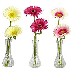 Nearly Natural 13-Inch Artificial Gerber with Bud Vase