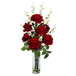 Nearly Natural Roses & Cherry Blossoms Floral Arrangement