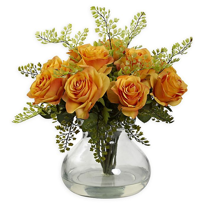 Alternate image 1 for Nearly Natural Artificial Rose & Maiden Hair Arrangement in Vase