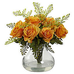 Nearly Natural Artificial Rose & Maiden Hair Arrangement in Vase