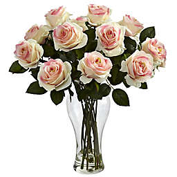 Nearly Natural 18-Inch Blooming Roses with Glass Vase