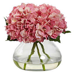 Nearly Natural 9-inch Large Faux Blooming Hydrangea with Glass Vase