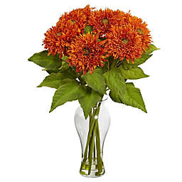 Nearly Natural 22.5-Inch Sunflower Artificial Arrangement with Glass Vase