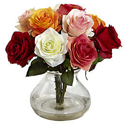 Nearly Natural 11-Inch Rose Artificial Arrangement with Glass Vase