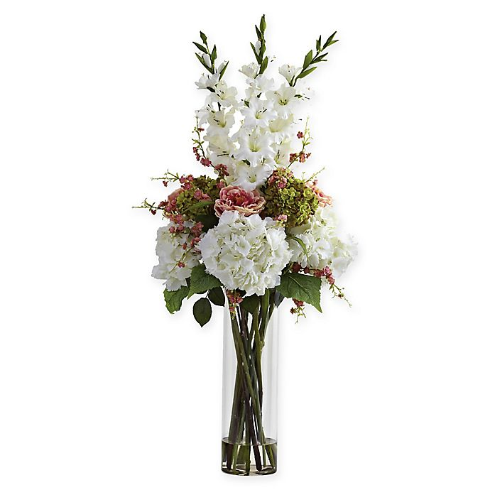 Alternate image 1 for Nearly Natural™ 48-Inch White Giant Mixed Floral Arrangement in Glass Cylinder