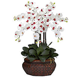 Nearly Natural 30-Inch Large Phalaenopsis Artificial Arrangement with Straw Planter