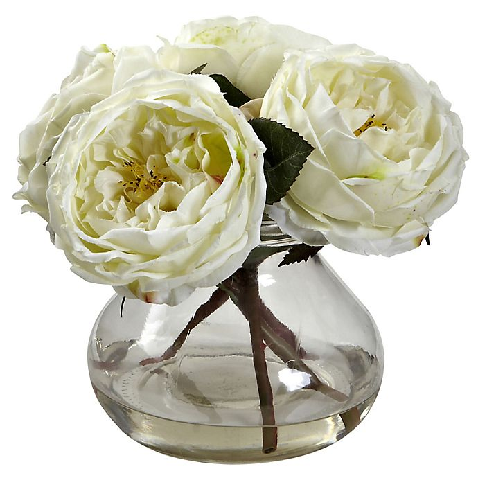 Alternate image 1 for Nearly Natural 8-Inch Fancy Rose Artificial Arrangement with Glass Vase in White