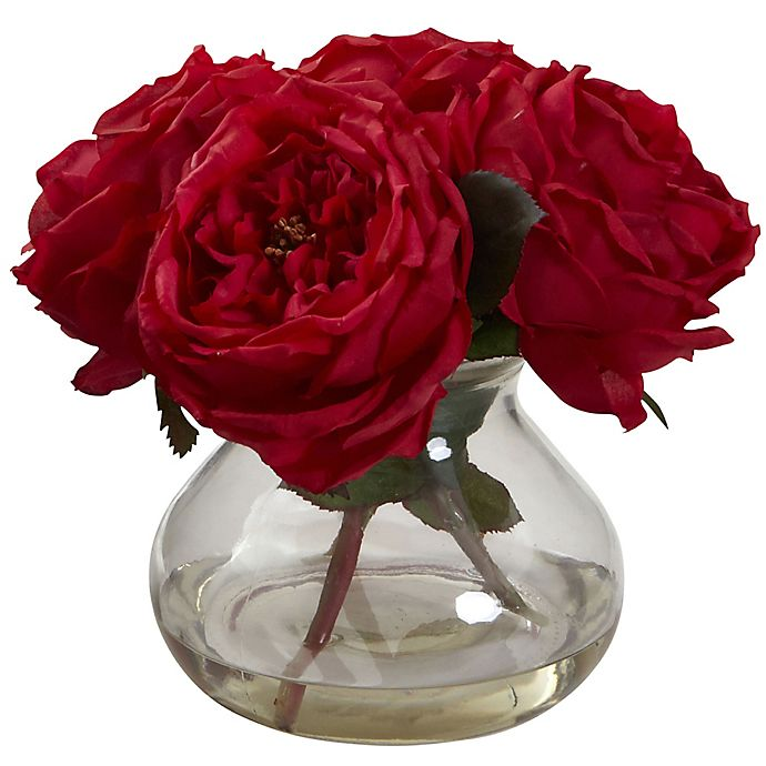Alternate image 1 for Nearly Natural 8-Inch Fancy Rose Artificial Arrangement with Glass Vase in Red