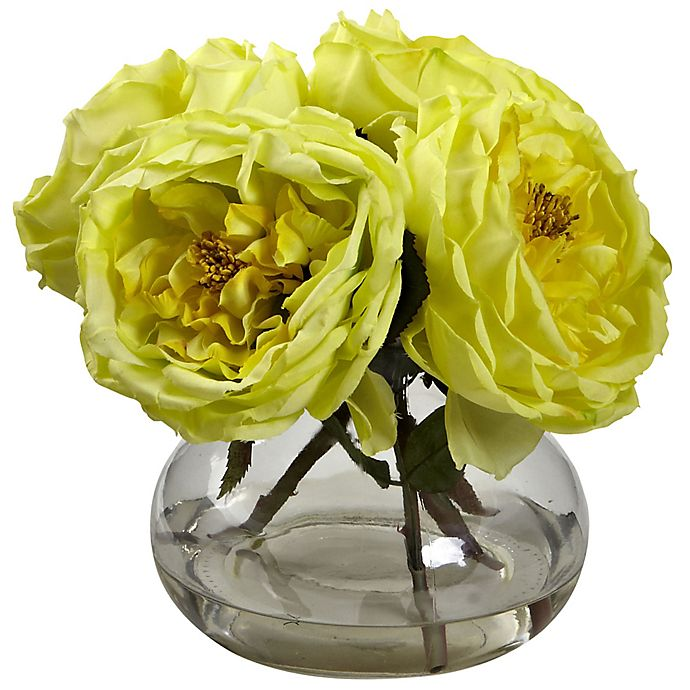 Alternate image 1 for Nearly Natural 8-Inch Fancy Rose Artificial Arrangement with Glass Vase in Yellow