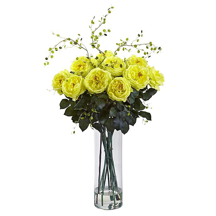 Alternate image 1 for Nearly Natural 32-Inch Fancy Rose and Willow Artificial Arrangement with Glass Vase in Yellow