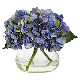 Nearly Natural Artificial Blooming Hydrangea Arrangement in Vase